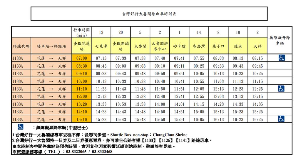 台灣好行太魯閣線班車時刻表01