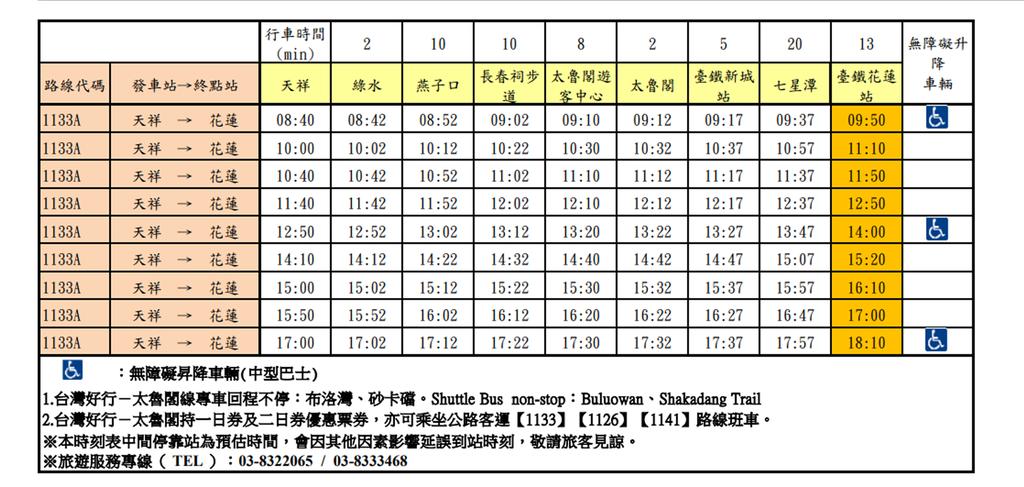 台灣好行太魯閣線班車時刻表02