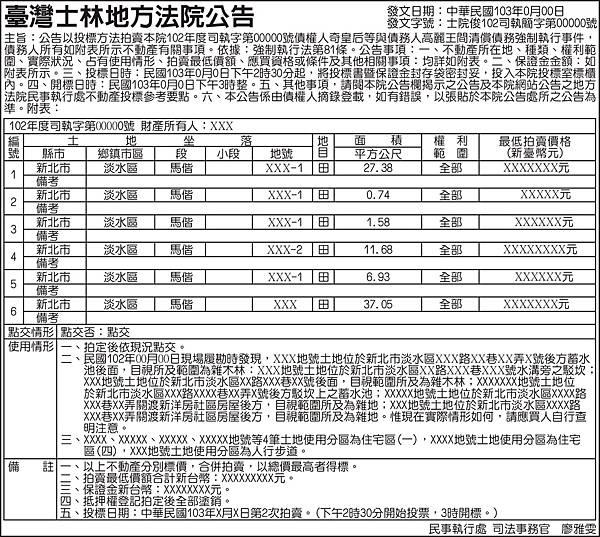 臺灣士林地方法院公告以投標方法拍賣債權人與債務人清償債務強制執行事件