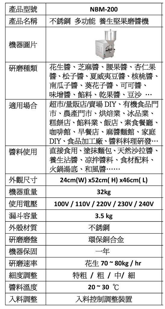 養生堅果磨醬機 系列產品NBM-200