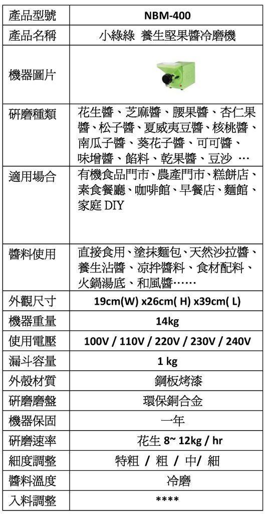 養生堅果磨醬機 系列產品NBM-400