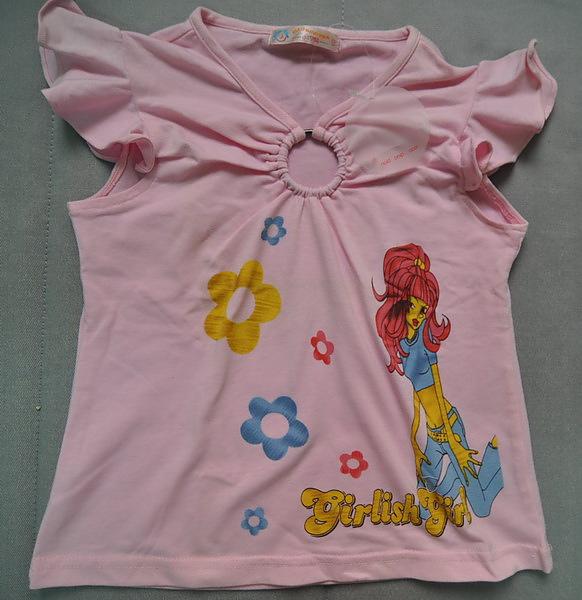 (n)粉色荷葉肩上衣女童上衣(5號)圖一