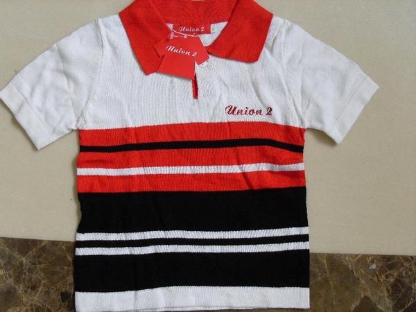 (n)全新黑白紅相間男童線衫