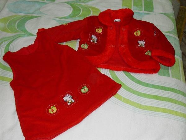 (o)二手紅色鋪棉女童套裝(圖一)