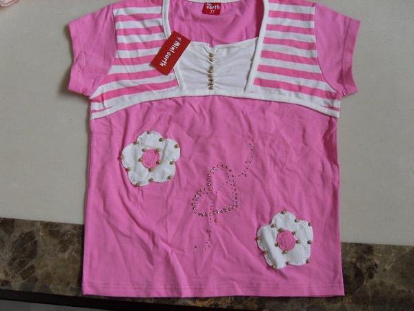 (n)全新女童粉紅短袖小花上衣(17號)圖一