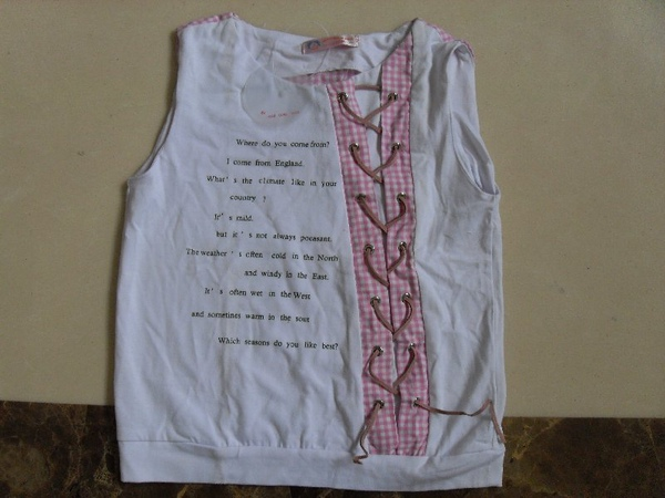 (n)全新女童無袖棉質上衣(3號及7號)圖一