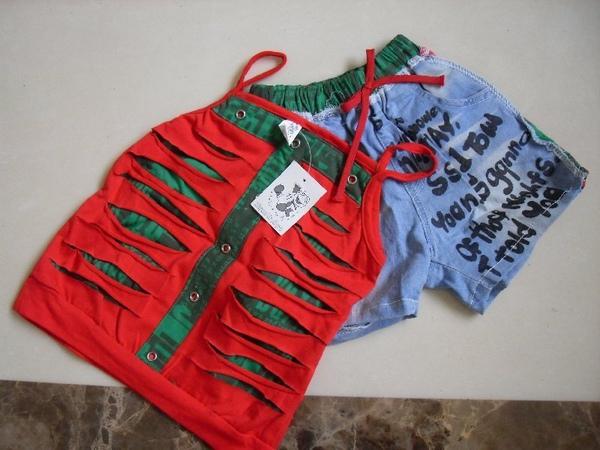 (n)全新女童兩件式套裝(粉紅細肩帶上衣+牛仔短褲)(9號及11號)圖二