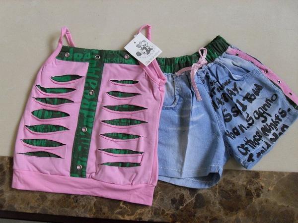 (n)全新女童兩件式套裝(粉紅細肩帶上衣+牛仔短褲)(9號及11號)圖一