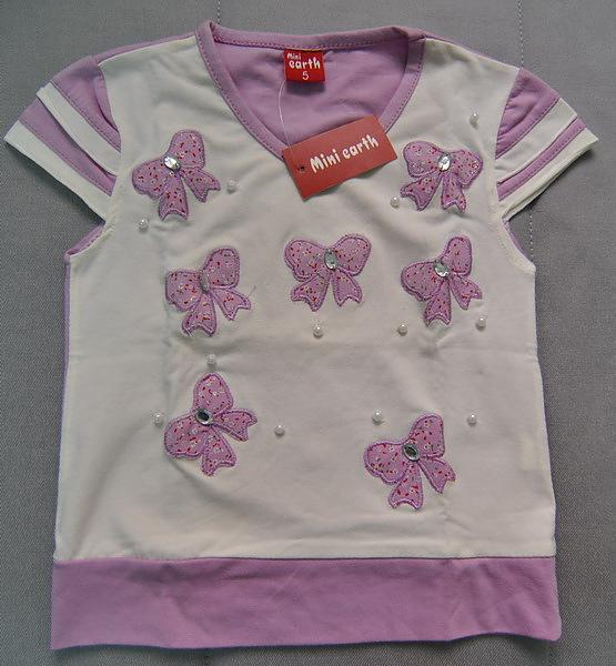 (n)紫色蝴蝶結女童上衣(5號)