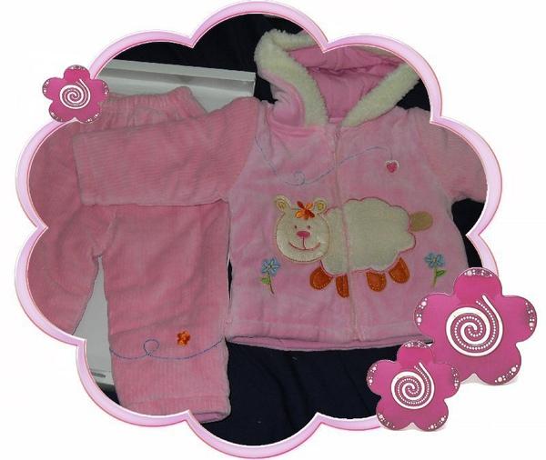 (n)二件式彌月禮盒(粉紅厚鋪棉帶帽外套+鋪棉長褲)圖二