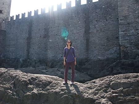 爬上城牆外的石頭