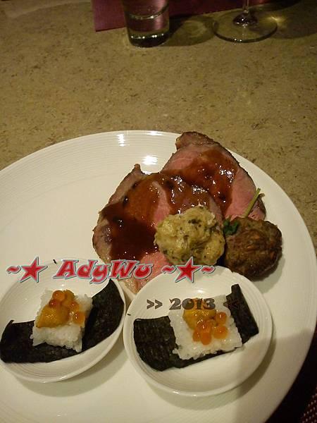 牛肉+羊肉丸+魚肉丸+海膽魚卵壽司