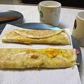 假日自製早餐_火腿蛋餅+無糖豆漿