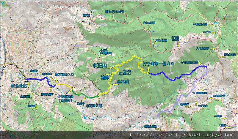 025、標示軌跡一:【中正山】下「竹子湖」