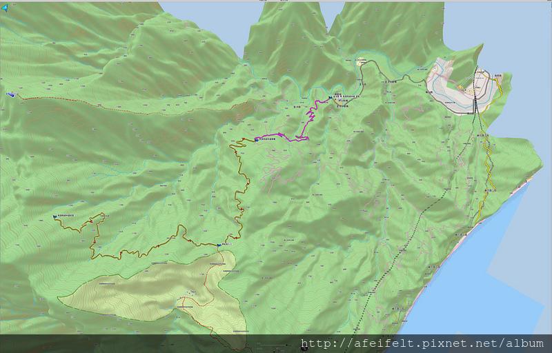 003、規劃:武塔派出所-南澳南線林道終點路線3D圖