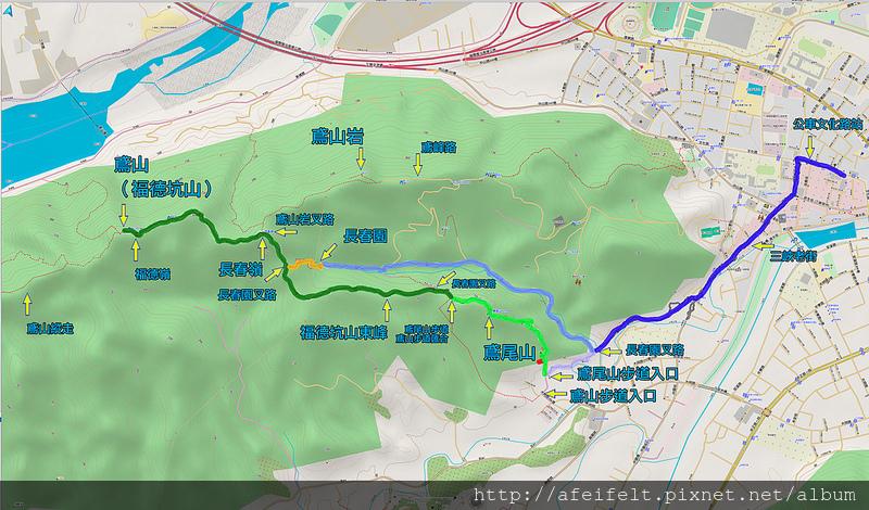 019、標示軌跡路線:鳶尾山-福德坑山東峰-福德坑山