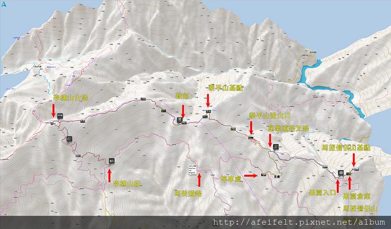 004、標示路線:馬望僧侶山、泰平山、李棟山軌跡圖