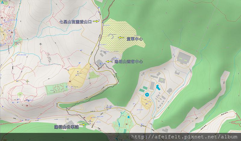 軌跡標示:陽明山大都會公車站-苗圃登山口人車分道