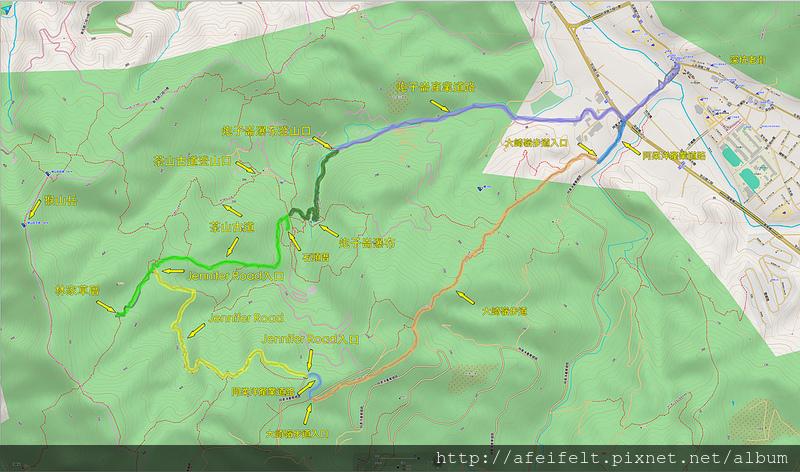 軌跡標示:「 炮子崙瀑布、茶山古道、JenniferRoad、大崎崙步道」