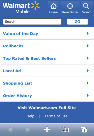 Walmart Mobile Website