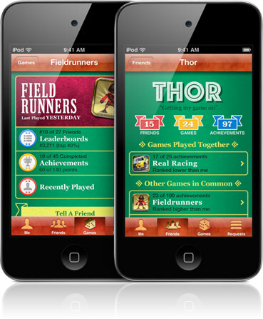 iPhone Game Center Social Gaming Network