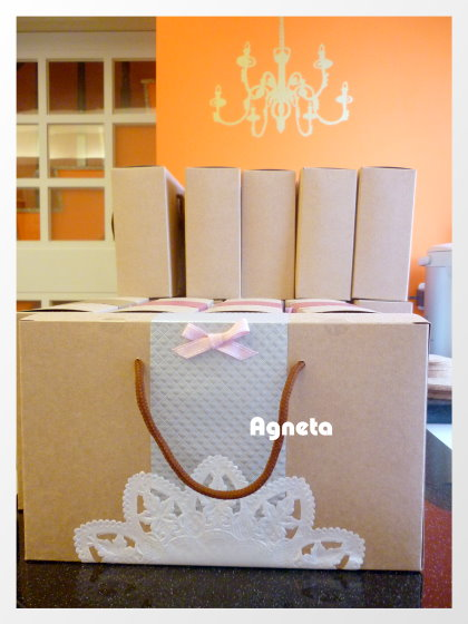 銀色盒子加上粉紅色跳線鍛帶蝴蝶結,其實有四種顏色的蝴蝶結。