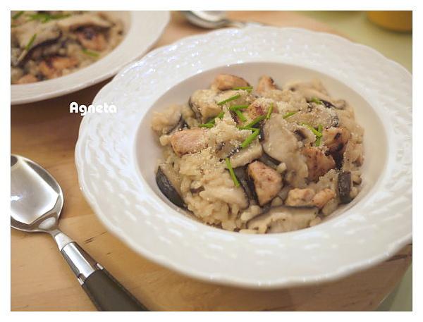 chicken, mushroom risotto