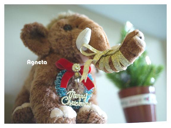 07年生日收到的小猛瑪象 鼻子纏繞鍛帶蝴蝶結~