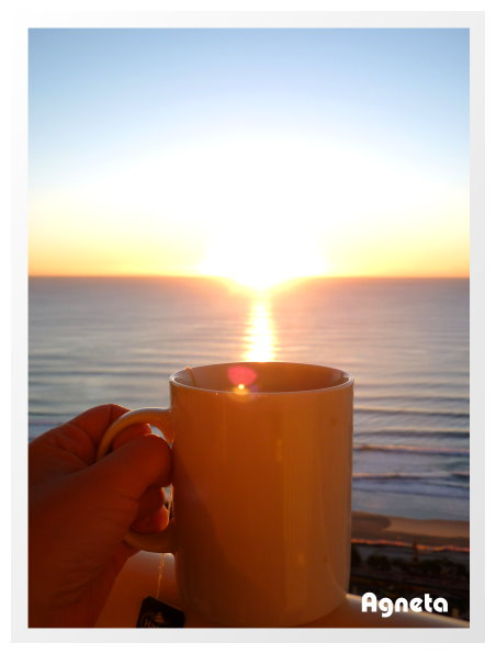 配著日出 今天的第一杯奶茶~~~