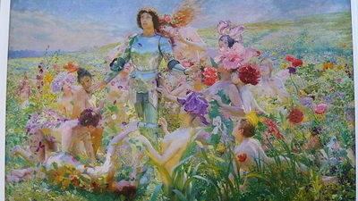 這張以希臘故事為背景的[花神與騎士]整個很鮮豔...