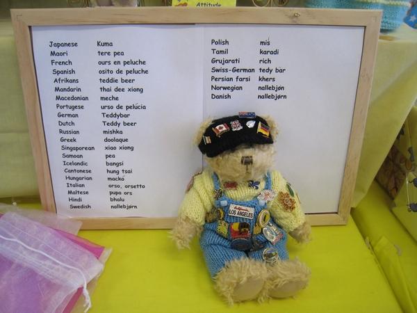 花俏的小熊娃娃,熊的各國語言翻譯