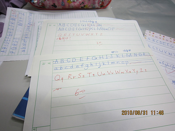 幫陳老師改作業 考A~Z大小寫