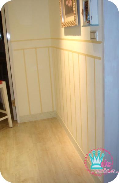 粉色水泥漆偽裝半腰壁板