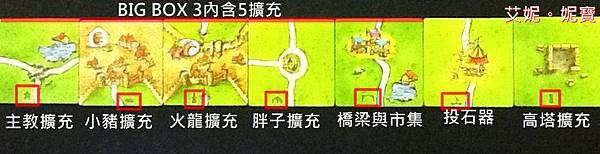 Board Game 桌遊 Carcassonne 卡卡頌 全大擴充圖示.JPG