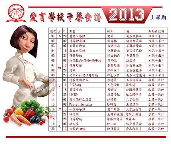 2013 愛育學校午餐食譜