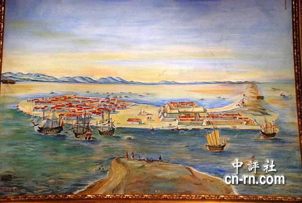 文物陳列館內一幅昔日熱蘭遮城油畫.JPG