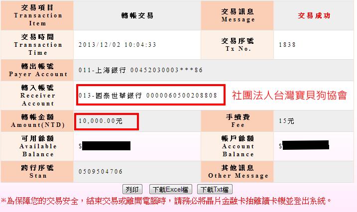 社團法人台灣寶貝狗協會(轉帳單據)