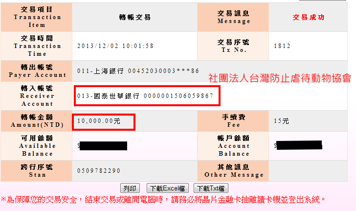 社團法人台灣防止虐待動物協會(轉帳單據)