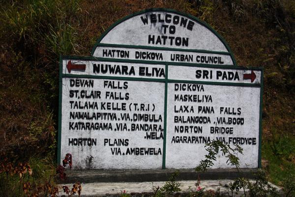 哈通路牌,說明位於Sri Pada與N-Eliya之間