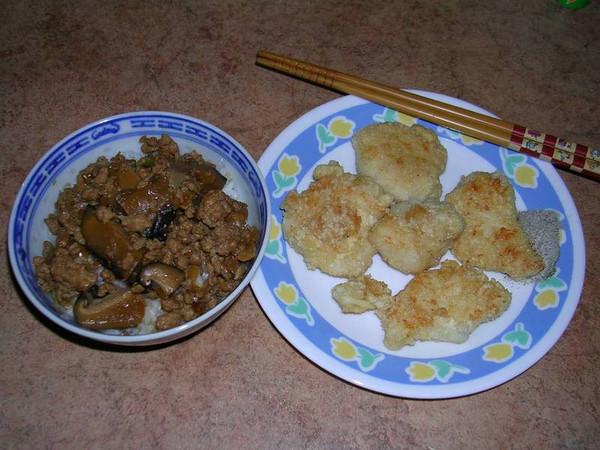 肉燥飯 & 鹹蛋炸雞塊
