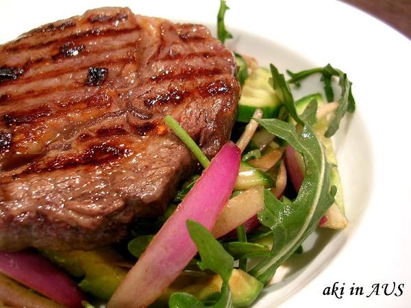chilli steak w/ avocado salad
