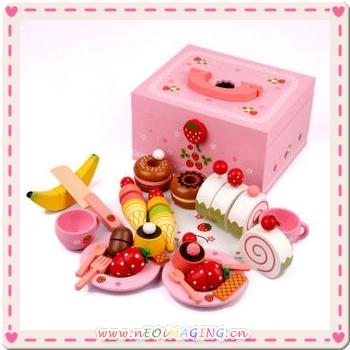 Mother Garden木製粉紅草莓下午茶蛋糕切切樂辦家家酒組