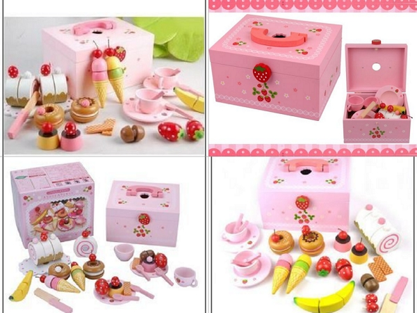 Mother Garden木製粉紅草莓下午茶蛋糕切切樂辦家家酒組1
