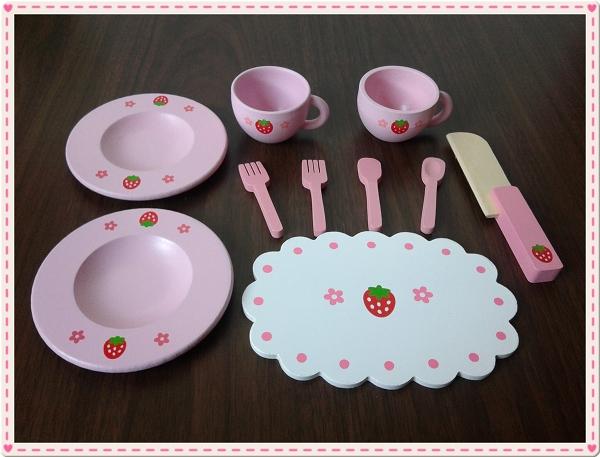 Mother Garden木製粉紅草莓下午茶蛋糕切切樂辦家家酒組6