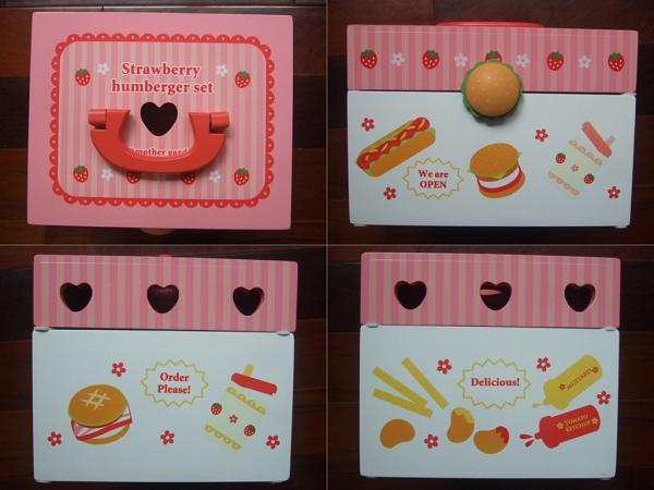 Mother Garden木製粉紅草莓漢堡薯條組2
