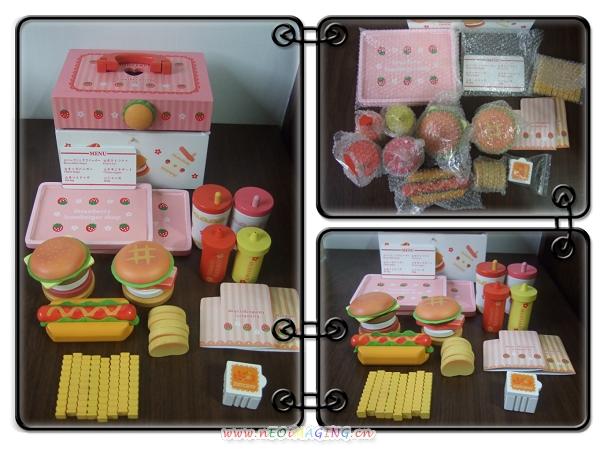 Mother Garden木製粉紅草莓漢堡薯條組4
