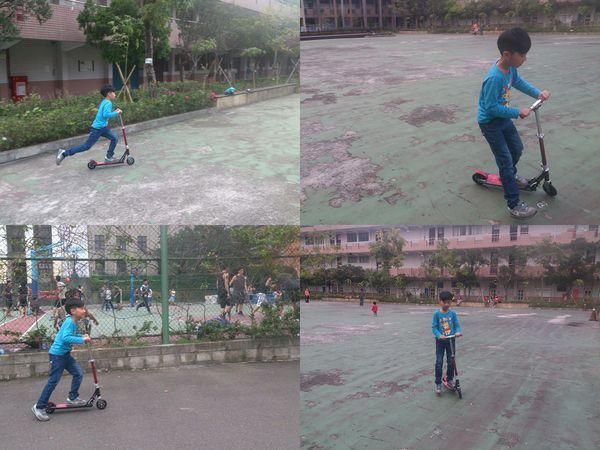 玩滑板車和打羽毛球@華夏科技大學1