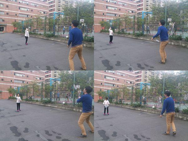 玩滑板車和打羽毛球@華夏科技大學5