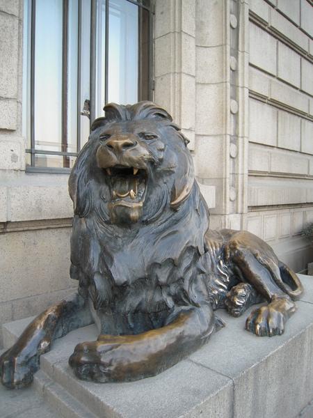 門外銅獅,張嘴版