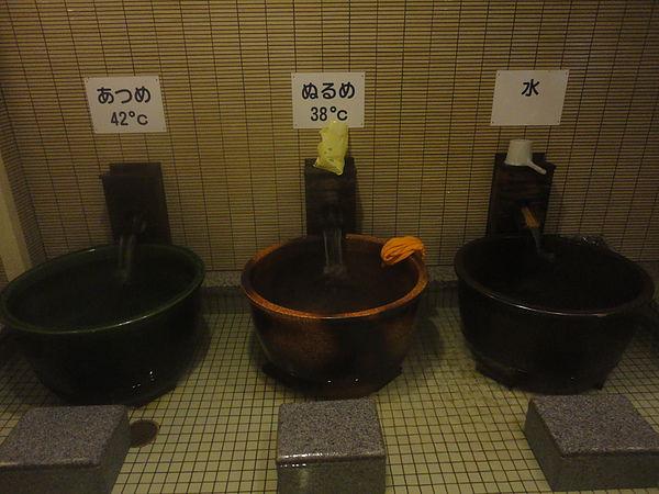 最右邊為冷池,中間為溫水池,左邊則是高達42℃的熱池